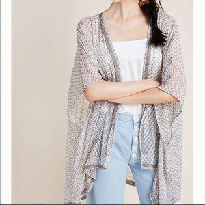 Joya Shimmer Anthropology Silk Grey Beaded Kimono
